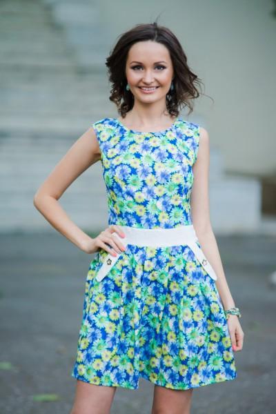 Женское летнее жаккардовое синее платье