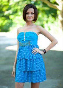 Женское летнее выскозное голубое платье