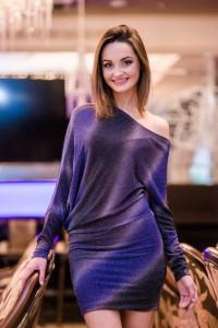 Женское нарядное фиолетовое платье из люрекса