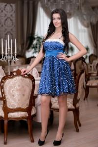 Женское выпускное короткое синее